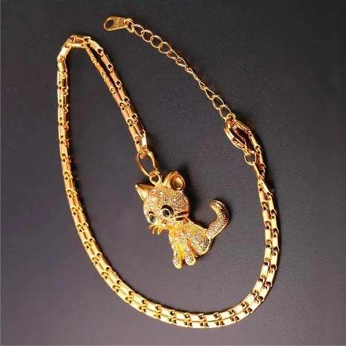 Collar De Gato Oro 18k Regaló 10 De Mayo Estuche+envío