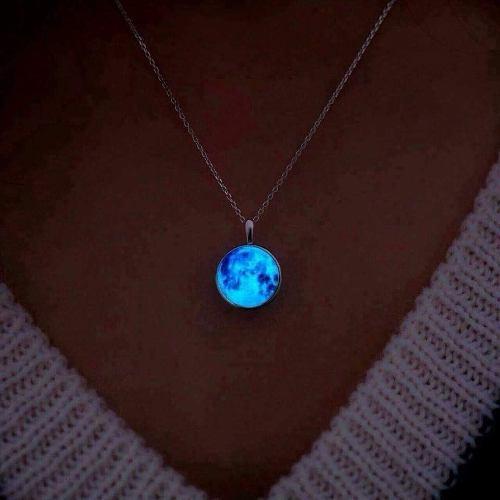 Set Collar + Pulsera Luna Llena Brilla Oscuridad Luminoso