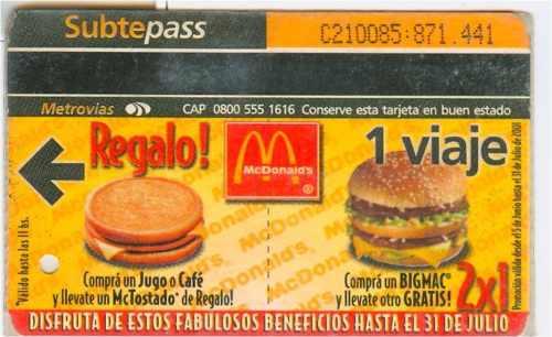 Argentina Boleto Del Metro 2001