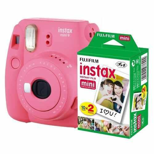 Camara Instax Fuji Mini 9 Rosa Flaming+kit De 20 Peliculas
