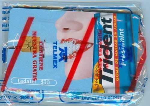 Tarj Blister Trident Azul Nueva Con Publicidad