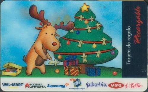 Tarj Gift Card Navidad Reno Y Arbol Tarj Con Mov