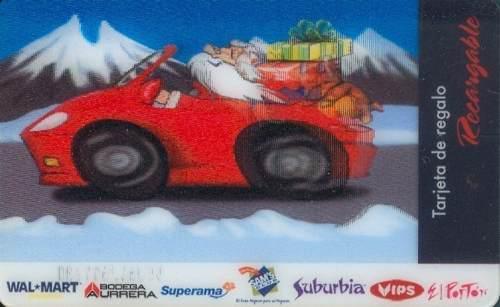 Tarj Gift Card Navidad Santa En Coche Tarj Con Mov