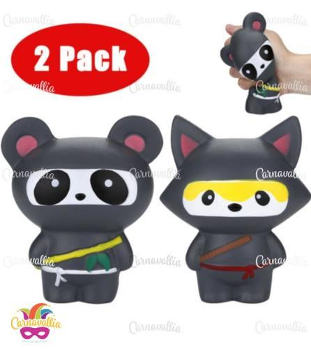 Combo Squishies Kawaii Jumbo: Squishy Panda Y Zorro Ninja