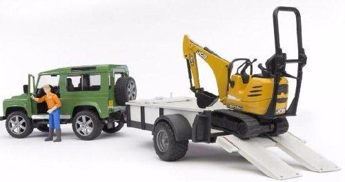 Juguetes Bruder Land Rover Defender With/traile Jcb Mic