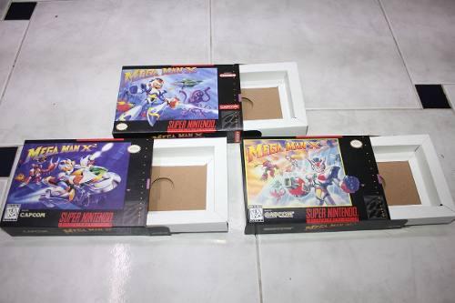 3 Cajas Custom Para Juegos De Mega Man X + X2 + X3 Snes