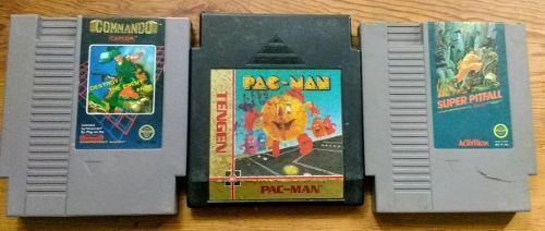 Lrg Commando Pac-man Super Pitfall Nintendo Nes