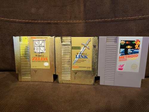 Zelda, Zelda Ii Y Metroid. Lote De Juegos Para Nintendo Nes