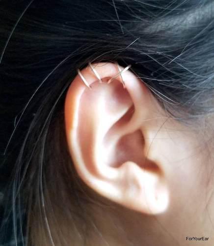 2 Ear Cuff Clip Minimal Aretes De Plata 925 Sin Perforacion