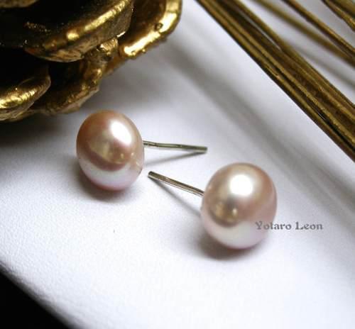 Aretes Broquel De Plata.925 Con Perlas Auténtica