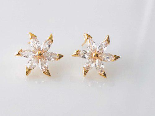 Aretes Estrella Brillante Oro Lam 14k Con Zirconias.