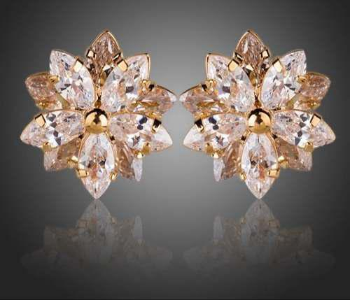 Aretes Flor Cristal Swarovski Elements Oro Laminado Regalo