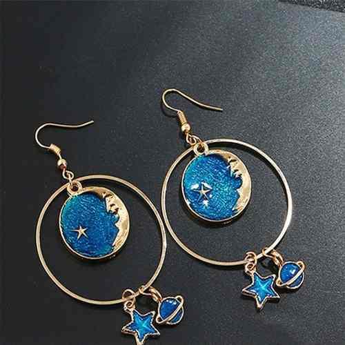 Aretes Universo Luna, Estrella Moon Planeta Azul Mod Cosmos