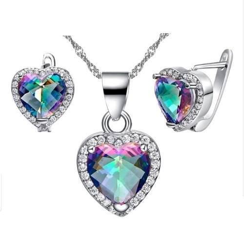 Aretes Y Collar Corazon Plateado Cristales Swarovsk Tornasol