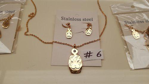 Aretes Y Collar En Acero Laminado En Oro Modelos #6 Al #7