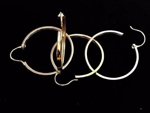 Arracada Lisa Media Caña En Chapa De Oro 14k Aretes X Par