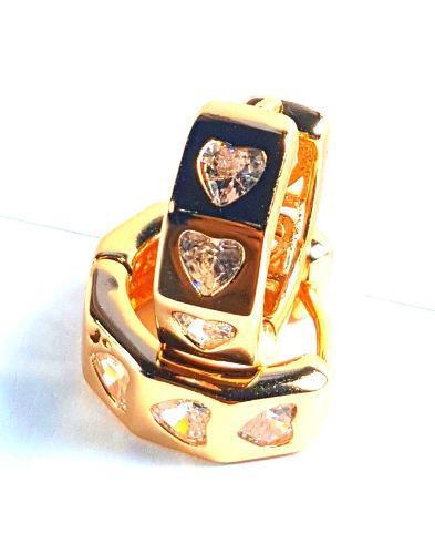 Arracadas Corazones De Zirconias Oro 18k Lám. Moda