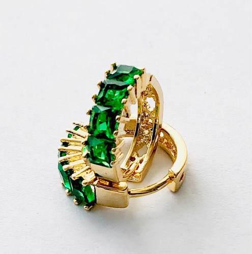 Arracadas De Oro Cristal Verde Austriaco Envio Gratis.
