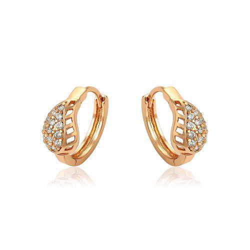 Arracadas Oro 14k Lam Hoja Con Zirconias Calidad Diamante