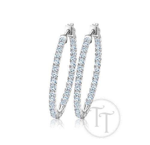 Arracadas White Gold Filled 18k Swarovski Diamante 35.4 Mm