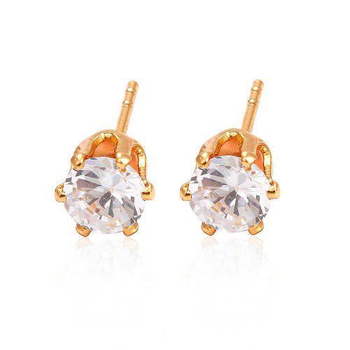 Broqueles De Oro 18k Lam Con Zirconias 5mm Corte Diamante