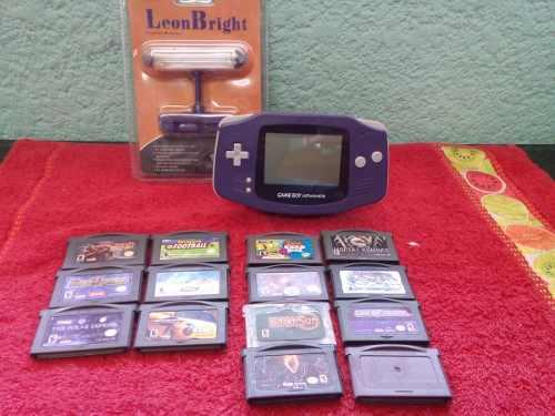 Consola Game Boy Advance Con 14 Juegos Y Lampara.