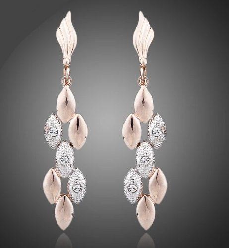 Elegantes Aretes Largos Doble Tono Cristal Austriaco