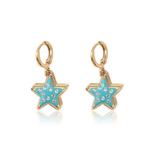 Finos Aretes Colgantes Estrella Con Swarovski Oro 18k Lam