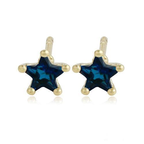 Finos Broqueles Oro 14k Lam Con Estrella De Swarovski Azul