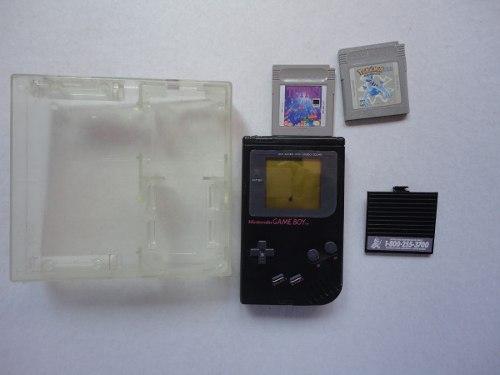 Gameboy Negro Tabique En Caja De Acrílico Tetris Y Pokemon