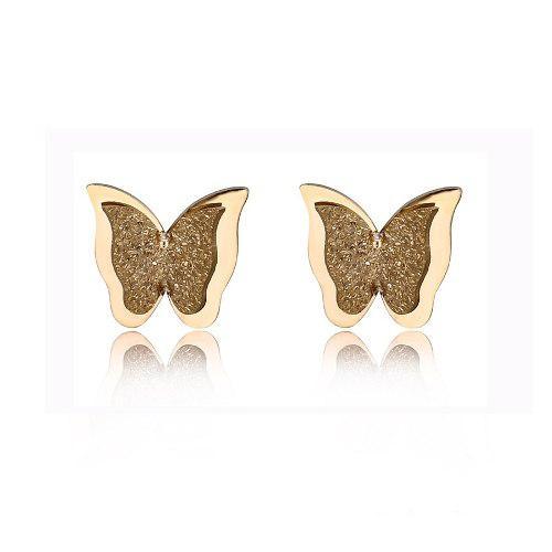 Hermosos Broqueles Mariposa Oro 18k Lam P/niña Con Bolita