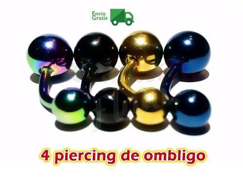 Piercing Ombligo Set De 4 Piezas Acero Inoxidable