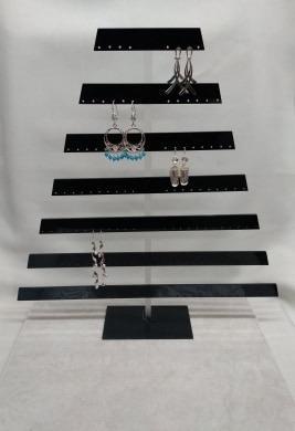Piramide De Acrilico Negro/aretes Y Broqueles/joyeria