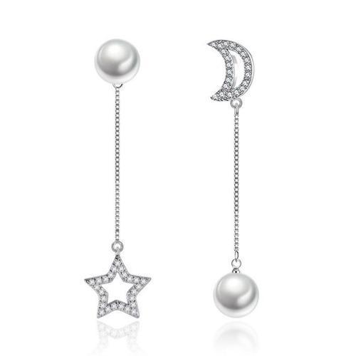Regalo Corazón Amor Aretes Luna Estrella Perlas Swarovski