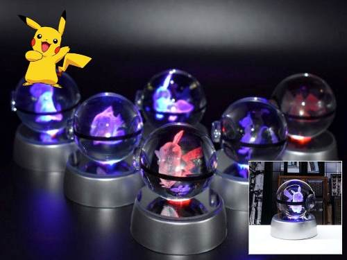 Pokebola De Cristal 3d Con Luz Led Multicolor Varios