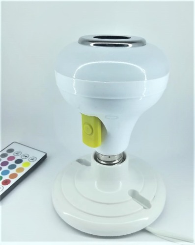 Foco Led De Colores Con Bocina Bluetooth Y Ranura Usb