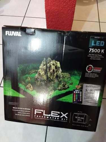 Kit Acuario Fluval Flex 57 Litros Filtro Y Lampara Led Nueva