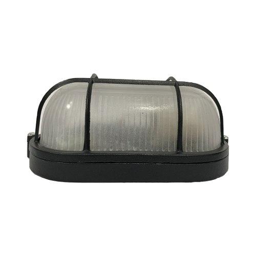 Lampara Arbotante Luminaria Ovalo Negro Ad- Adir