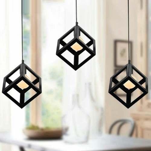 Lampara De Cubo Moderna Minimalista Incluye Foco Edison