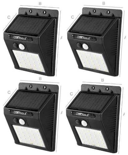 Lámpara Solar Led 4 Pack Sensor De Movimiento Y Luz Ip65