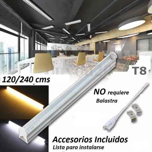 Paq 6 Tubos Led 1.2mts 18w T8 Canaleta Plástico 18watts