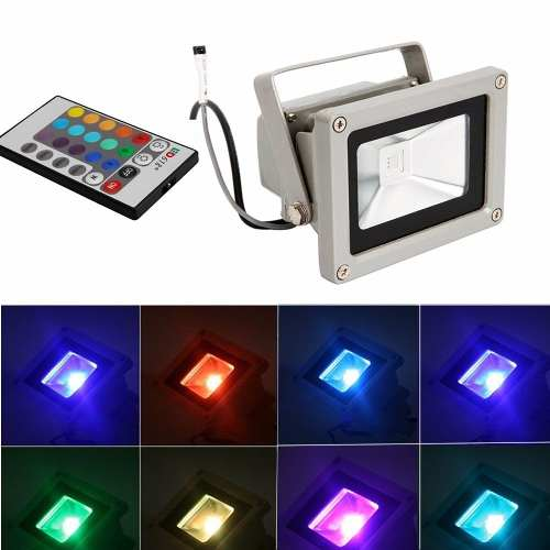 Reflector Led 16 Colores 10w Control Interior Exterior 900lm