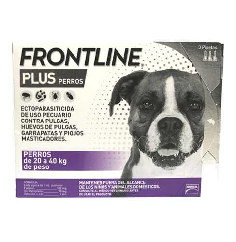 Caja De 3 Pipetas Frontline Plus Perros 20 A 40kg