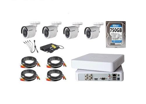 Kit Video Vigilancia 4 Cámaras Hd 720p / 1mp Hikvision