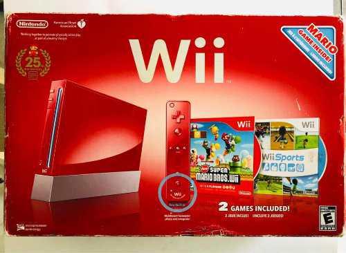 Consola Wii 25 Aniversario Roja Completa En Caja