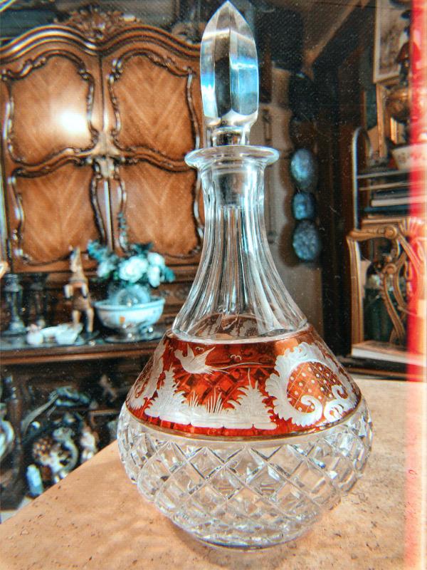 Licorera en cristal cortado Checoslovaquia