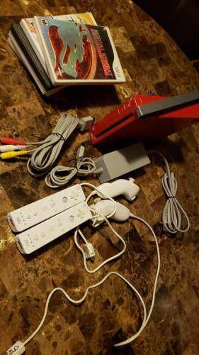 Nintendo Wii Rojo Con Controles Y Juegos
