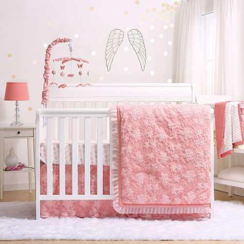 Audrey Coral Floral Juego De Ropa De Cama De Cuna Para Bebé