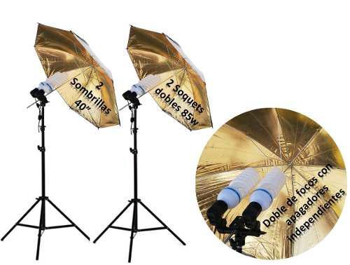 Kit Sombrillas Fotográficas, 4 Focos 85w, 2 Tripies,lo