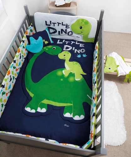 Set De Edredon Para Cuna De Bebe Little Dino 6 Piezas